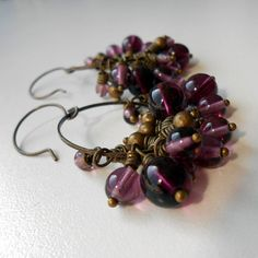 Bunches  Antique Brass and Czech Glass earrings by JennyBunny, $14.00 #handmade #jewelry