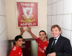 Kenny Dalglish welcomes Luis Suarez and Andy Carroll to Anfield