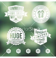 Summer sale vintage badges set vector by createvil on VectorStock®