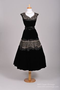 1950 Black Soutache Vintage Party Dress