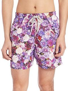 Saks Fifth Avenue Collection Chrysanthemum Swim Trunks - Purple - Size