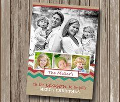 Burlap Linen Chevron Custom Photo Christmas Card - Holiday Photo Card - Digital You Print File - Printable
