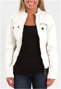Brave Soul Faux Leather Moto Jacket for Women in White W346107E