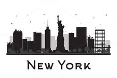 New York City skyline silhouette by@Graphicsauthor