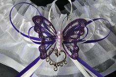 Purple Butterfly wedding garter set by AussieWeddingGarters