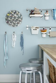 I love these ideas for the bathroom!  You could totally put your unhangable earrings in the magnetic circle thing!