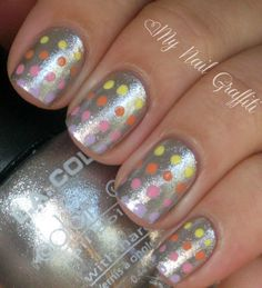 pastel dots on silver