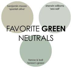 spanish home interior design ideas - Green Paint. Teresas Green Farrow And Ball GreenPaintColor Via Rhiannons Interiors. Green Paint Colors, Neutral Paint Colors, Bedroom Paint Colors, Wall Colors, Exterior Paint Colors For House, Paint Colors For Home, House Colors, Teresas Green, Olive Green Paints