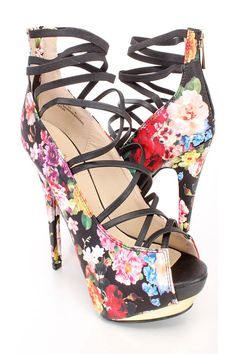These sexy and stylish platform high heels feature a faux leather upper with a… Strappy High Heels, Platform High Heels, High Heel Pumps, Pumps Heels, Stiletto Heels, Spring Shoes, Summer Shoes, Floral Heels, Walk This Way