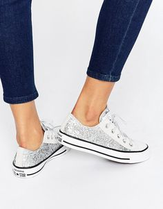 Image 1 of Converse All Star Chuck Taylor Sequin Ox Silver Plimsoll  Trainers Converse All Star 35f159366837f