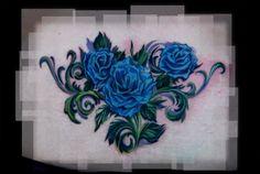 blue rose tattoo | Blue Rose Tattoo Foot Flower Cross Tribal Samurai