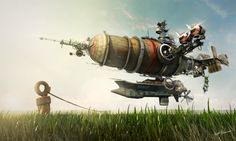 Here's a fun, whimsical #steampunk #airship design! Illustration by Tomi Väisänen, http://darkki1.deviantart.com/art/Journey-awaits-370636419