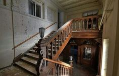 This once majestic building in Saxony Anhalt, Germany, started life as a castle. It was then transformed into a manor house, before finally being converted into a retirement home after the Second World War. By Stefan Dietze. Abandoned Malls, Abandoned Castles, Abandoned Mansions, Abandoned Buildings, Abandoned Places, Wooden Staircases, Stairways, Spooky Places, Strange Places