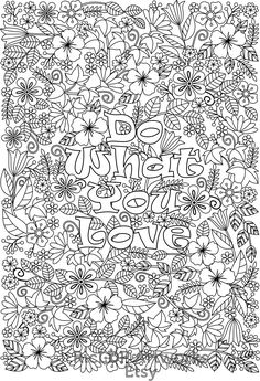 Printable 'Do What You Love'  #coloringpages #RicLDP #love
