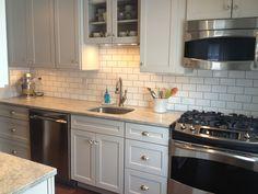subway tile, kitchen, grey cabinets, sharkey gray, cottage kitchen, small kitchen
