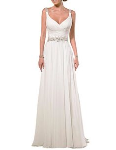 EllaGowns V Neck Shoulder Straps Soft Ruching Chiffon Wedding Gown Ivory US 14 EllaGowns http://www.amazon.com/dp/B019O06ELA/ref=cm_sw_r_pi_dp_5nf2wb0TH248J