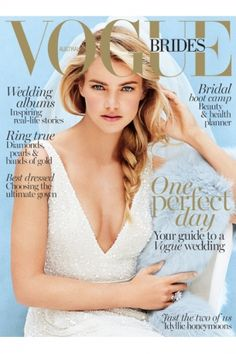 Elyse Taylor by Derek Kettela for Vogue Brides 2015 cover, wearing an Inbal Dror for Mark Ingham dress
