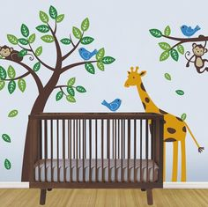 Tree with Monkeys Giraffe and Birds Wall Decals - Baby Nursery Wall Decals