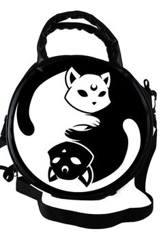 YIN YANG. Purrfect Balance is the key. - Handbag with Adjustable/Detachable Strap.- KILLSTAR Satin Lining.- Size 28cm [dia], Strap 60-116cm.- 100% Polyester. La