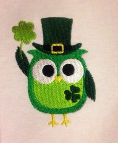 St. Patrick's Day owl For Digital Download for Embroidery Machine