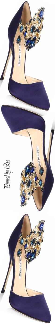 Manolo Blahnik Zullin Jewel-cuff Satin Pump #manoloblahnikheelsladiesshoes