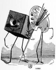 """""""La pittura che offre alla fotografia un piccolissimo posto all'esposizione delle Belle Arti. Era ora!"""" è la significativa didascalia di questa vignetta di Nadar, pubblicata sul """"Journal Amusant"""" nel 1859"""