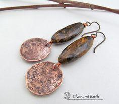 Copper Earrings Bronzite Earrings Natural Stone Jewelry Organic Rustic Earthy Jewelry Brown Stone Earrings Handmade Artisan Jewelry (38.00 USD) by SilverandEarth