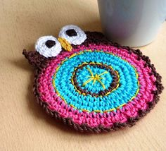 Funny Crochet Coaster - Owl Coaster Double Faced  - Bird Coaster - Animal Coaster - Gift for Her - Stocking Stuffer - Housewarming Gift