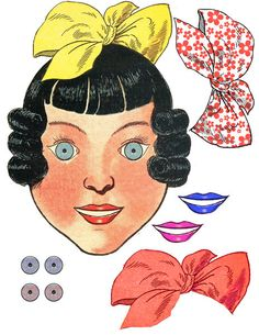 little girl face paper doll clip art by DigitalGraphicsShop