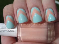 baby blue nails with neutral chevron stripe