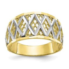 10K with Rhodium Diamond-Cut Filigree Ring / STYLE: 10C1278 #FiligreeRing Filigree Design, Filigree Ring, Gold Book, Gold Pumps, Types Of Rings, Gold Bands, Or Rose, Rose Gold, Band Rings