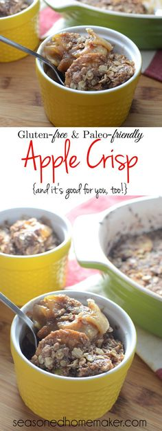 Celebrate Fall with this amazing Gluten-Free Paleo-Friendly Apple Crisp Dessert. Simple ingredients like apples, cinnamon, and butter. This recipe easily converts to paleo-friendly by switching out a few ingredients. desserts. A little taste of heaven in each bite. fall | desserts | comfort food