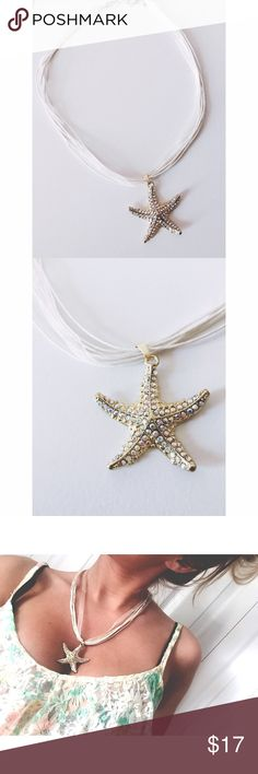 Salty Kisses Starfish Wishes BEAUTIFUL star fish necklace , gold tone with rhinestone covering, adjustable collapse, last picture shows the length, falls right at chest. For all my beach lovers.   ~ I DO NOT SWAP, SO PLEASE DON'T ASK. YOU WILL BE IGNORED.  ~ I NO LONGER HOLD MY ITEMS, FIRST COME FIRST SERVE.   ~YOUR PURCHASE WILL BE SHIPPED WITHIN 24-48 HOURS AFTER PURCHASED, FROM THAT POINT ON I CANNOT CONTROL HOW LONG IT WILL TAKE FOR THE SHIPPING SERVICE TO GET IT TO YOU.   ~I AM MORE…