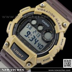 Casio 10Yrs Battery Vibration Alarm Brown Sport Watch W-735H-5AV e533e97007ba