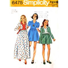 Girls' 70s Dress In Two Lengths: The top-stitched dress with skirt gathered to bodice above normal waistline have V shaped neckline, collar, back zipp