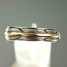 native american wedding bands | NATIVE AMERICAN Gold  Silver Feather Wedding Band Ring
