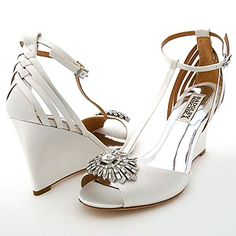 Badgley Mischka Milly bridal wedges on Sale. One of the most adorable bridal shoes ever. Bridal Shoes Wedges, White Bridal Shoes, Wedge Wedding Shoes, Wedge Shoes, Wedding Wedges, Bridal Accessories, Bridal Jewelry, Badgley Mischka Shoes Wedding, Disney Bridal Showers