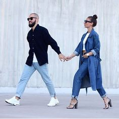 Her double denim. Fashion Couple, Love Fashion, Fashion Outfits, Men Fashion, Street Style, Street Chic, Amo Jeans, Streetwear, Neutral Outfit