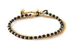 MGD, Black Onyx Color Bead and Brass Bell Anklet. 2-strand Anklets Beautiful Handmade Brass Anklet. Small Anklets. Ankle Bracelet. Fashion Jewelry for Women, Teens and Girls, JB-0269A >>> Review more details @