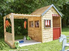 A wooden hut for children at a reasonable price Wooden Hut, Wooden Cabins, Cubby Houses, Play Houses, Garden Huts, Small Yard Landscaping, Tiny House Cabin, Yellow Houses, Outdoor Gardens
