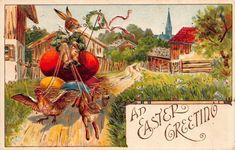 Easter Postcard Dressed Bunny Rabbit Driving Chicken Rabbit Pulled Wagon~115259 #Easter