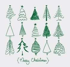 More Christmas tree sketches. Easy and fun addition to this year's Christmas card envelopes! Christmas Doodles, Noel Christmas, Winter Christmas, All Things Christmas, Christmas Ornaments, Green Christmas, Christmas Tree Sketch, Christmas Tree Drawing Easy, Merry Christmas Writing