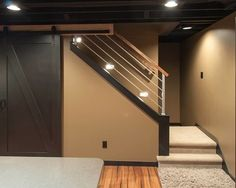 Love the nontraditional railing. Traditional Basement Small Basement Remodeling Ideas Design, Pictures, Remodel, Decor and Ideas - page 32 Low Ceiling Basement, Basement House, Basement Plans, Basement Stairs, Basement Bedrooms, Basement Renovations, Home Remodeling, Basement Ideas, Basement Decorating