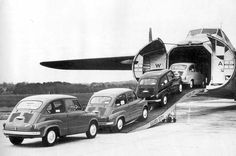 Fiat being loaded onto a Silver City Airways freighter, one of over 200 such aircraft manufactured by Bristol Aeroplane Company of the UK from whereas almost million of the Fiat 600 were built in Turin from 1955 to [jamezorlando] Fiat 600, Fiat 500 Pop, Fly To Australia, Bristol Cars, Fiat Cars, Cargo Airlines, Silver City, Vintage Italy, Air France