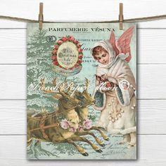 Adorable Vintage Christmas Angel and Reindeer, Digital, French Graphic Christmas Image, Instant Download by FrenchPaperMoon on Etsy