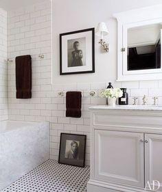 hall bath decor ... b+w photos, dark chocolate towels