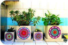 macetas con mandalas mandala flower pot