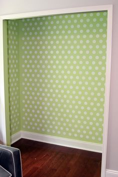 Polka dot closet stencil finished product - Paint the insides of your closets so they look like a room. Add some cute baskets on brackets or in cubbies, use hangers that are uniform.