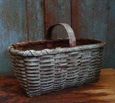 Antique primitive wood splint painted basket