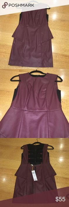 Woman BCBG leather dress size 4 Woman BCBG leather dress. Size 4. Very cute. Burgundy color and black. BCBG Dresses Mini